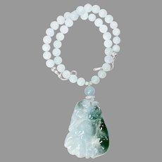 Carved Translucent Vintage Jade Double Cat Aquamarine Necklace
