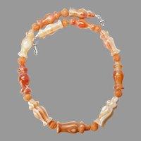 Stylish Natural Banded Orange Agate Necklace