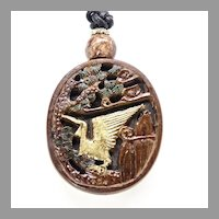 Chinese Hand Carved Boxwood Stork Pendant Necklace