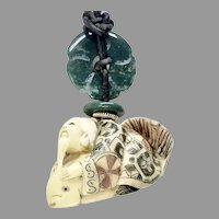 Carved Bone Netsuke - Man Riding a Fish Pendant Necklace