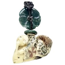 Carved Bone Netsuke - Man Riding a Fish Pendant Necklace