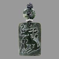 Dark Green Old Etched Jade Dragon Pendant Necklace