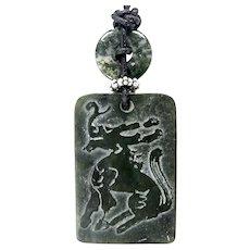 Dark Green Vintage Etched Jade Dragon Pendant Necklace