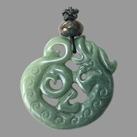 Carved Chinese Green Jade Dragon Pendant Necklace