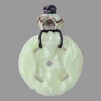 Chinese Celedon Jade Double Dragon Pendant Necklace