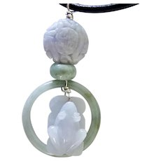 Carved Lavender Jade Frog in a Ring Pendant Necklace