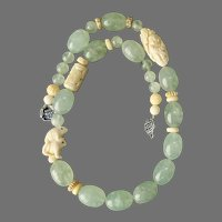 Translucent Green Tourmalated Quartz and Chinese Carved Bone Necklace