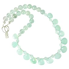 Beautiful Translucent Green Chalcedony Drops Necklace