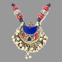 Antique Afghan Brass Glass Inlaid with Bells Pendant Necklace