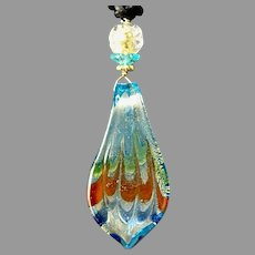Turquoise Glass Lamp Work Pendant Necklace