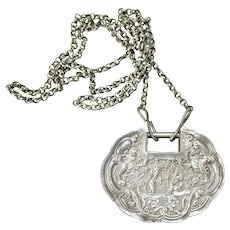Antique Chinese Qing Dynasty Silver Repousse Lock Pendant Necklace