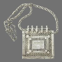Antique Rajasthan Indian Silver Pendant Necklace