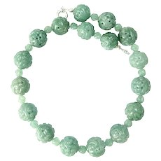 Large Carved Green Aventurine Dragon Bead Necklace
