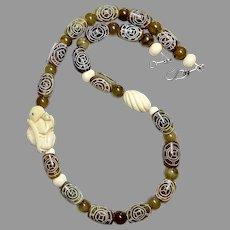 Carved Horn Turtles, Carved Bone Turtle Serpentine Necklace
