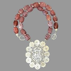 Old Chinese Silver Happiness Pendant, Chinese Etched Red Glass Necklace