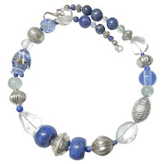 Blue Lapis, Rock Crystal and Silver Fish Necklace