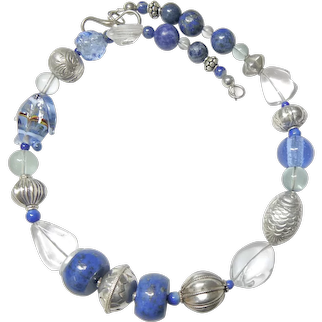 Blue Lapis, Rock Crystal and Vintage Fish Necklace