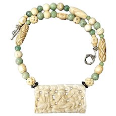 Carved Bone Three Monkeys with Green African Jade Necklace