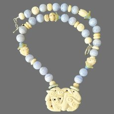 Carved Bone Fo Dog, Blue Lace Agate Necklace