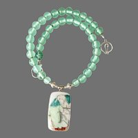 Chinese Qing Dynasty Porcelain Shard , Green Indonesian Glass Necklace