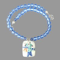 Chinese Qing Dynasty Porcelain Shard , Blue Indonesian Glass Necklace