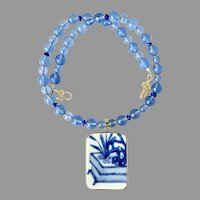 Chinese Ming Dynasty Porcelain Shard Blue Obsidian, Lapis, Necklace