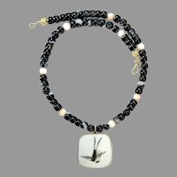 Chinese Qing Dynasty Porcelain Shard , Onyx, Coral Necklace