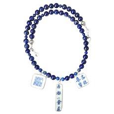 Chinese Ming Dynasty Porcelain Shards, Lapis, Necklace