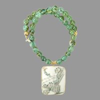 Chinese Qing Dynasty Porcelain Shard , Green Obsidian Necklace