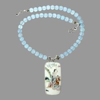 Chinese Qing Dynasty Porcelain Shard , Sea Blue Chalcedony Necklace
