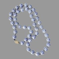 Chinese Export Vintage Blue and White Porcelain Longevity Bead Necklace