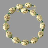 Chinese Hand Painted Poem Bead Necklace