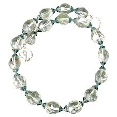Large Faceted Clear Lodalite with Green Flowers Necklace