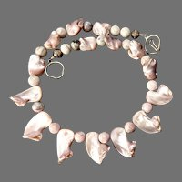 Large Shimmery Pink Mother Of Pearl Drops Necklace