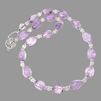 Purple Amethyst Nugget, Sterling Silver Necklace