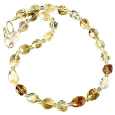 Sparkly Faceted Nugget Multi Golden Citrine Necklace