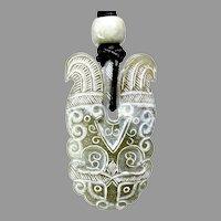 Carved Green Nephrite Stylized Dragon Pendant Necklace