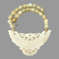 Carved Golden Jade Quadruple Dragons, Golden Serpentine Necklace