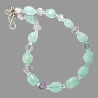 Green Fluorite Nuggets and Rainbow Fluorite Necklace