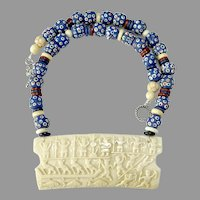 Carved Bone Figure Pendant, Old Blue African Tribal Glass Necklace