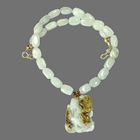 Hand Carved Green Jade Lucky God, Aquamarine Necklace