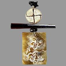 Old Carved Brown Jade Dragon Pendant Necklace