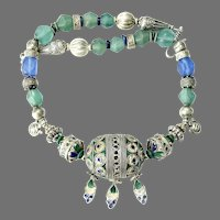 Old Berber Tribal Moroccan Enameled Bead, 14th Century Java Glass Necklace