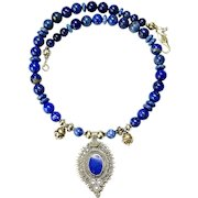 Old Afghan Tribal Brass Pendant and Lapis Necklace