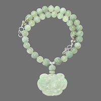 Carved Green Jade Phoenix Lock, Celadon Jade Necklace