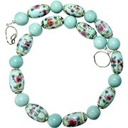 Old Hand Painted Turquoise Chinese Porcelain Bead Necklace
