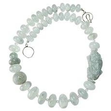 Hand Carved Aqua Blue Jade Dragon, Aquamarine Necklace