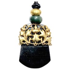 Antique  Chinese 18k Gold Vermeil Garment Ornament, Dark Green Serpentine Pendant Necklace