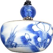 Old Chinese Porcelain Shard, Blue Indonesian Glass Pendant Necklace