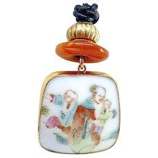 Chinese Qing Dynasty Porcelain Shard Pendant Necklace